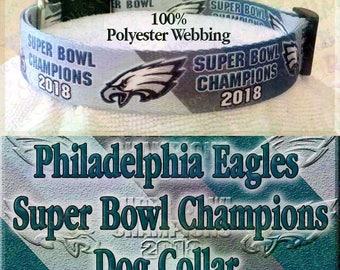 Team Colors Diagonal Stripes Philadelphia Eagles Super Bowl Champions 2018 Polyester Webbing NFL Football Designer Novelty Dog Collar