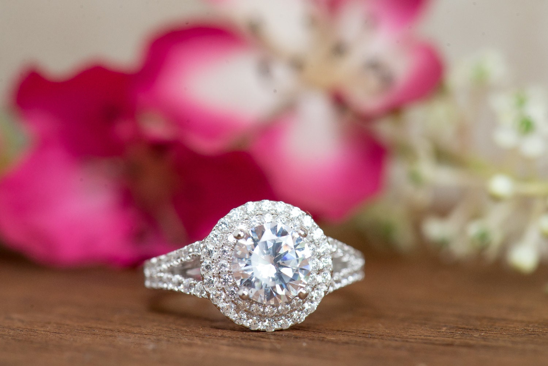 Round Double Halo Ring Wedding Ring Engagement Ring Bridal