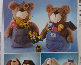Bunny Bear and Dog Jeans Pocket Toy Jeanie Babies Mccalls Crafts 2717 Soft Sculpture Rabbit Bear and Dog Toys Pattern