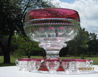Tiffin or Indiana Glass Kings Crown Clear Punch Bowl, Base, & Twelve Punch Cups, Ruby Flashed!  HOLIDAY SALE - PRICED to Sell!!
