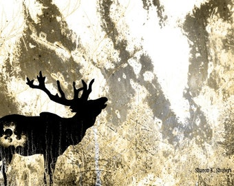 Elk Silhouette Art, Rugged Outdoors, Rustic Cabin Decor, Woodland Animal, Winter Home Decor, Decorative Wall Hanging, Giclee Print, 8 x 10