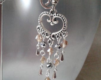 "Earrings ""heart and silver and yellow"""