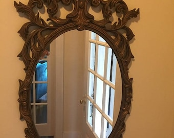 Vintage 1970's Oval Hollywood Regency   Turner  Mfg. Co.  Gold   Ornate  Wall mirror/ syroco style mirror