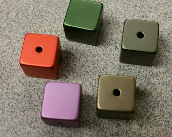 Anodized Cube Beads in Bright Orange, Cafe Au Late, Olive Green, Lite Purple, Dk Slate (set of 4)