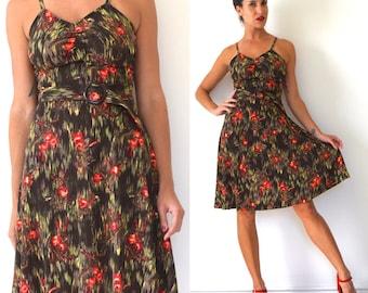 Vintage 70s Cherry Tree Novelty Print A Line Sun Dress (size xs, small)