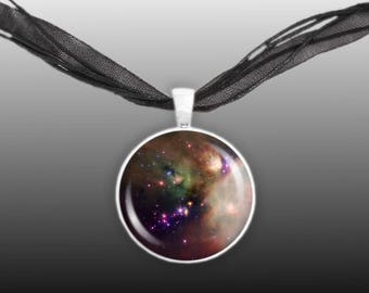 """Rho Ophiuchi Star Forming Region in Constellation Ophiuchus Space 1"""" Pendant Chain Necklace Silver Tone"""