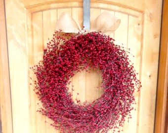 Summer Wreath-4th of July Wreath-LARGE Red Wreath-Summer Door Wreaths-Fall Wreath-Winter Wreath-Wreath for Fireplace-Holiday Home Decor