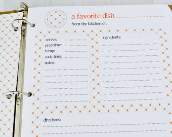 Recipe Binder Card Refills - Additional Full Page Recipe Card Sets for your Recipe Binder in Trellis Design