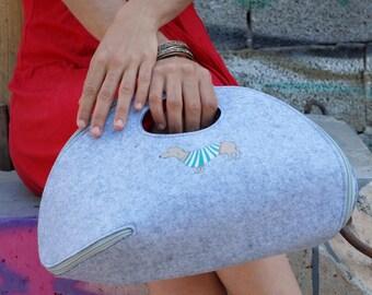 Felt Women Clutch, Women's Purse, Vegan Small Handbag, Top Handle Cool bag, Woman Evening Bag, one of a kind bag, unique Gift for her