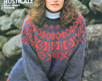 Sweater Knitting Patterns Family Rusticale Bernat 655 Vintage Paper Original NOT a PDF Men Women Children Cardigan