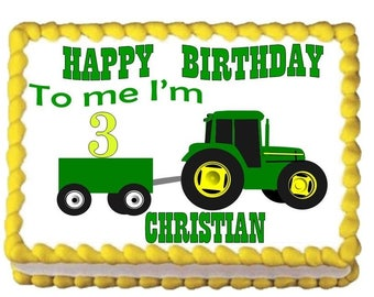 I'm 3 Tractor Happy Birthday Edible Image Cake Topper Sheet Baking Supplies Jenuine Crafts