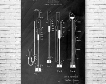 Mercurial Barometer Poster Art Print, Mercurial, Meteorology Poster, Quicksilver, Meteorologist, Weather, Science, Atmosphere, Pressure