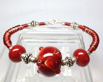 Red Art Glass Wire Wrapped Bracelet