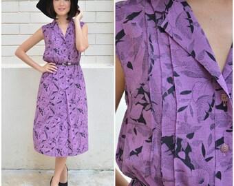 1980 Vintage Dress/ Purple Foliage Dress/ Small Dress/ Japanese Vintage/ Purple Dress/ Collar Dress/ Sleeveless Dress/ Summer Dress/ Retro