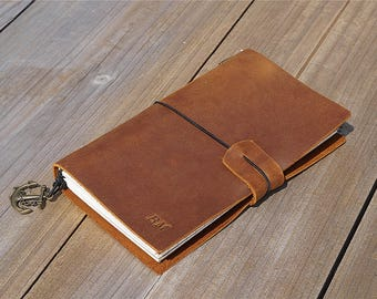 Refillable leather journal travel journal personalized journal notebook custom journal brown leather journal mes journal gift for traveller
