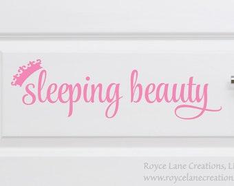 Sleeping Beauty / Sleeping Beauty Door Decal / Nursery Door Decal / Nursery Decals / Door Decal / Sleeping Beauty Sticker / Sleeping Beauty