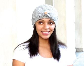 Crochet Spiral Hat, Crochet Cap, Crochet Hat, Color is Silver Heather,