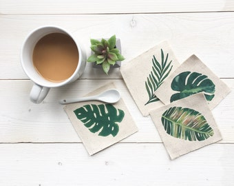 Coasters - Palm Coasters Drink Mats Summer Coasters Tropical Decor Housewarming Gift Summer Entertaining Coffee Coasters Drink Coasters Beer