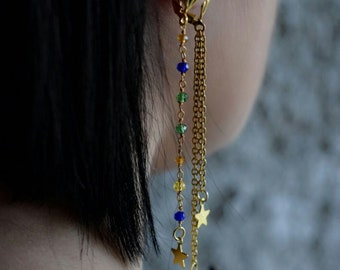 Drop earrings with rosary chain in multicolor brass and star