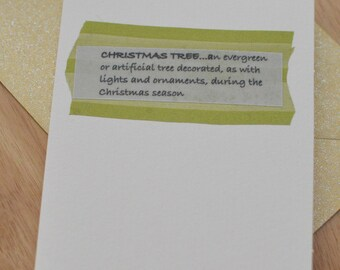 CHRISTMAS CARD Handmade Blank Greeting Card, Christmas Tree Definition Message