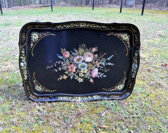 Vintage Tole Painted Table Black Floral French Provincial Hand Painted Flowers Coffee Table PanchosPorch