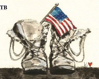 American Flag with Boots Notecard