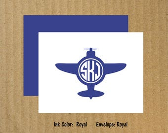Airplane Note Cards, Set of 10, Airplane Monogram Note Cards, Airplane Monogram, Plane Note Cards, Thank You Cards, Monogram Thank You Cards