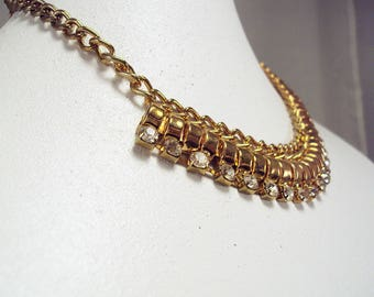"""Really Intense Egyptian Collar in Rose Gold Tone with Glass Crystals  16""""-19"""""""