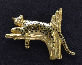 Leopard Brooch, Pin, Gold tone, Vintage (TB12)