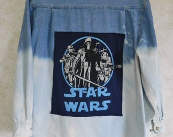 Premier International For Ladies Bleached Denim Shirt w/ Star Wars Patch on Back Size Large