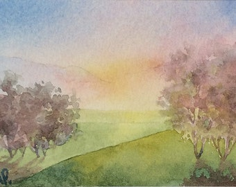 Original watercolor ACEO painting - Farewell
