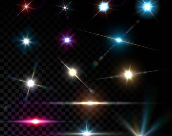 lens flare overlay, design element, glow, stars, eps file, flash effect, sunlight,light flare, sunbeam,sun flare