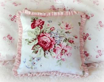 "Barkcloth Raspberry Roses Pillow 14""x 14"" Pink Velvet Ruffle Includes Insert"