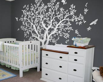 Large Tree wall decal White Tree Wall Decal Wall Mural Stickers Wall Decals Decor Nursery Tree and Birds Wall Art Tattoo Nature  - NT040