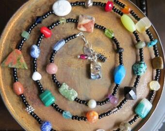 gemstone necklace wrap bracelet. RANDOM ORPHANS. pearls. agate. jasper. lapis. amethyst. citrine. garnet. sterling silver lobster clasp.