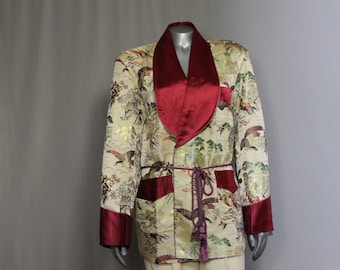 Fifties Silk Brocade Finely Tailored  Funahasi Smoking Jacket Classic Style