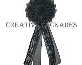 Black Lace and Organza Mourning Cockade