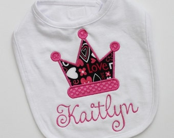 Personalized Baby Girl Bib with Name and Crown