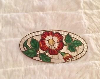 1950s enamel flower broach