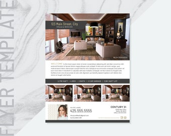 "Ai Real Estate Flyer Template, Real Estate Flyer Template, Realtor Flyer, Marketing Flyer, Illustrator Template, 8.5"" x 11"" _ No.2"