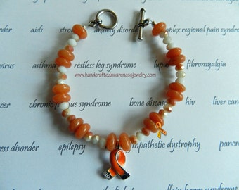 Orange Ribbon Awareness Bracelet, Orange Ribbon, CRPS Awareness, RSD Awareness, M.S. Awareness, Leukemia Awareness, Lupus, COPD, Aventurine