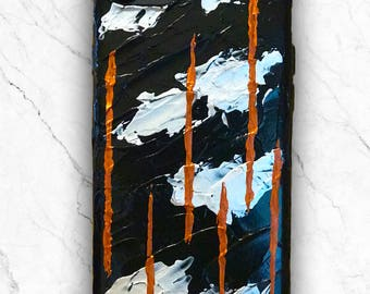 Handpainted artistic abstract black silver copper phone case (iPhone 7, iPhone 6)