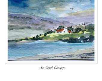 Landscape ORIGINAL Miniature Watercolour Irish Cottage, ACEO Hills  Watercolor painting For him For her Home decor Wall art Gift Idea