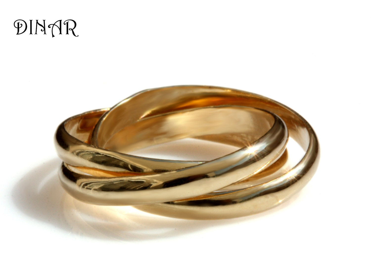 Trinity Wedding Band Intertwined Rolling Ring Three 3mm Wide