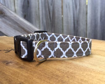 Dark Gray Quatrefoil Dog Collar-NON-MONOGRAMMED