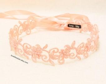 Peach Pearl Beading Flower Lace with Satin Ribbon Sash // Bridal Sash , Bridesmaid Sash, Head tie, Headband , Wedding Sash / SH-27