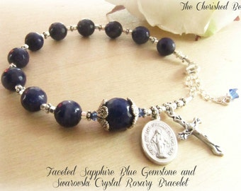 Beautiful Faceted Blue Gemstone and Swarovski Crystal Rosary Bracelet
