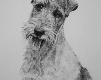 Wire Fox Terrier dog fine art LE print dog gift dog lover gift from an original charcoal available unmounted or mounted ready to frame