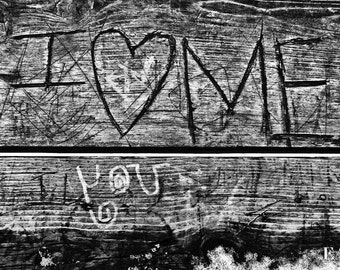 I Love Me/romance/Minneapolis/wooden bench/love/Stone Arch Bridge/urban photography/black and white/grad gift