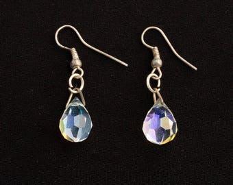 Crystal Drop Silver earrings